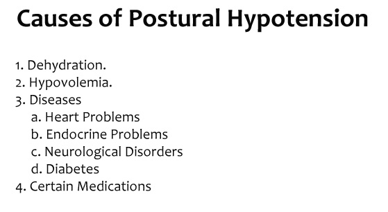 Orthostatic Hypertension causes